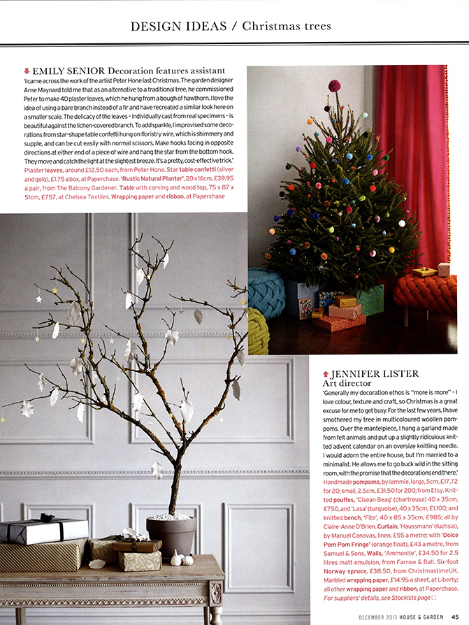 HOUSE & GARDEN Design Ideas /  Christmas Trees, December 2013 / Photographs: Anders Gramer
